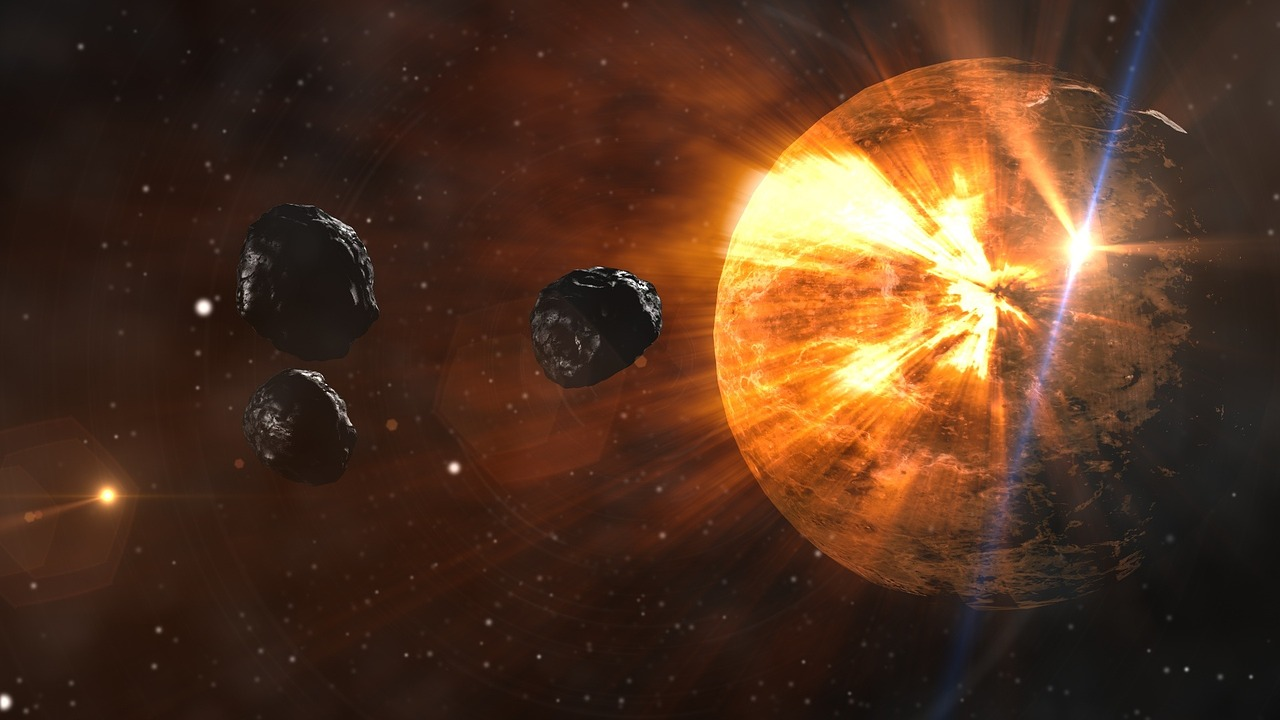 asteroids crushing into the planet