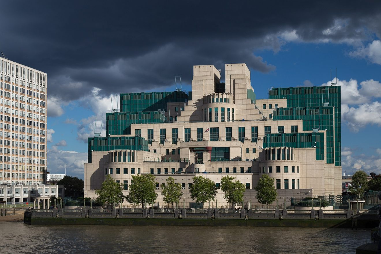 Backof the SIS Building MI6, postmodern architecture.