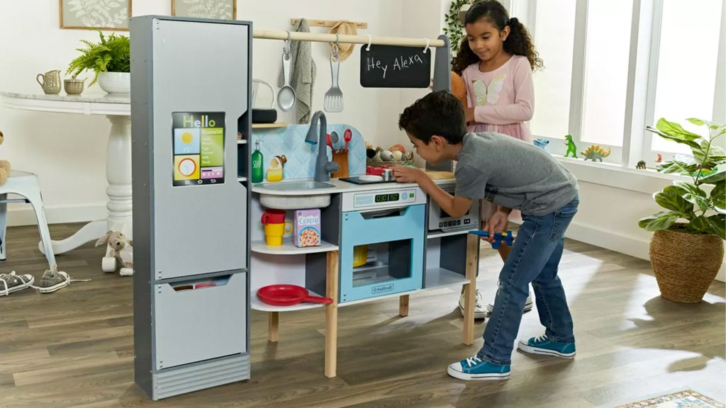 Kids play with the Kitchen with Amazon Alexa voice assistant