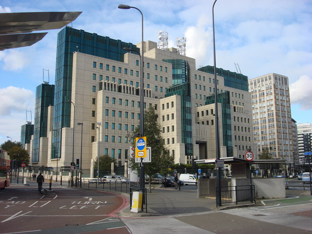 Front of the SIS Building MI6, postmodern architecture.