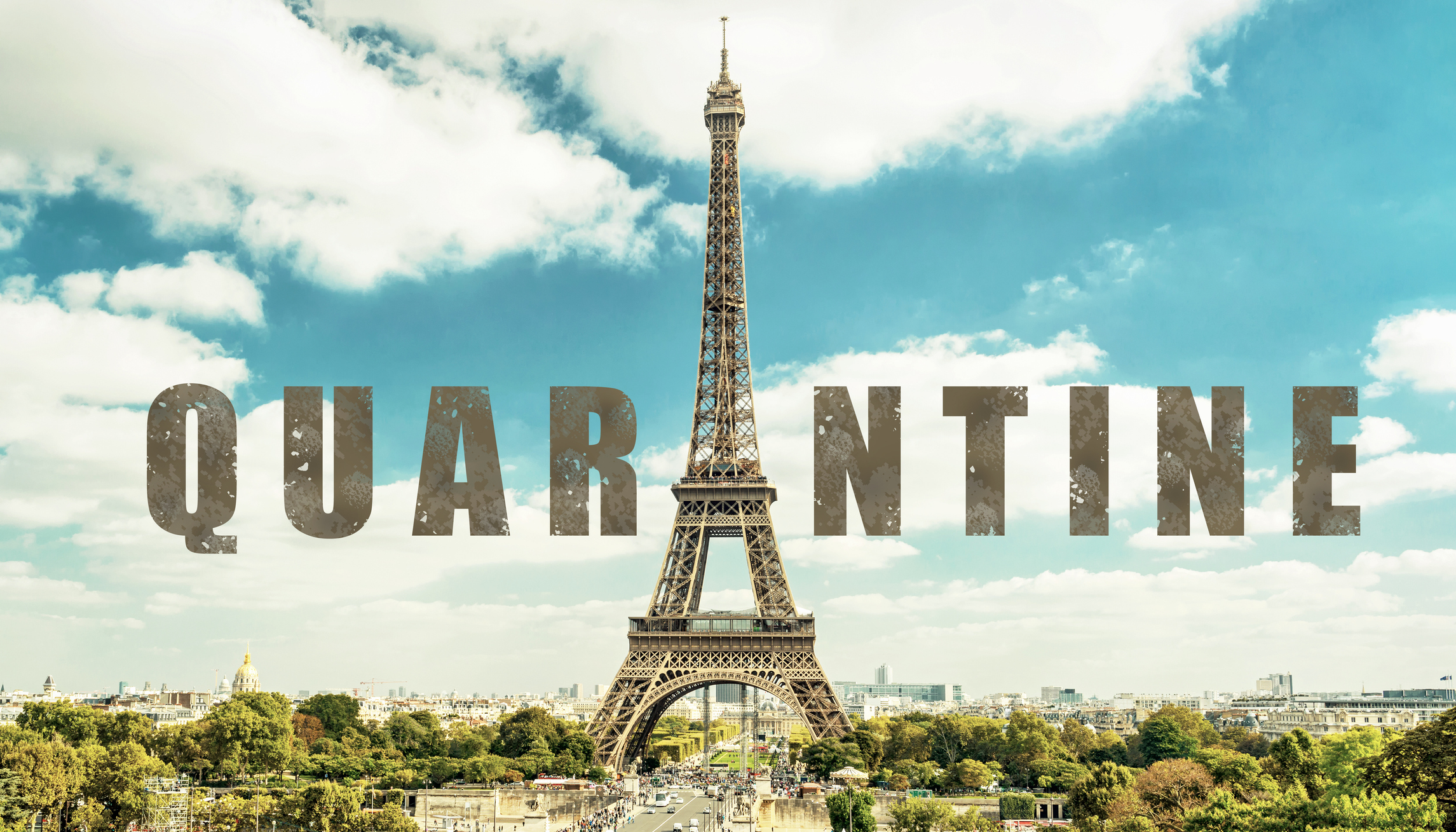 COVID-19 coronavirus in France, text Quarantine in photo of Eiffel Tower in Paris. French tourist attractions closed due to novel corona virus outbreak. Concept of COVID pandemic and travel in Europe.