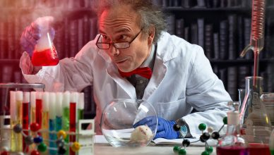 crazy scientist the making mix of chemicals to experiment on mouse