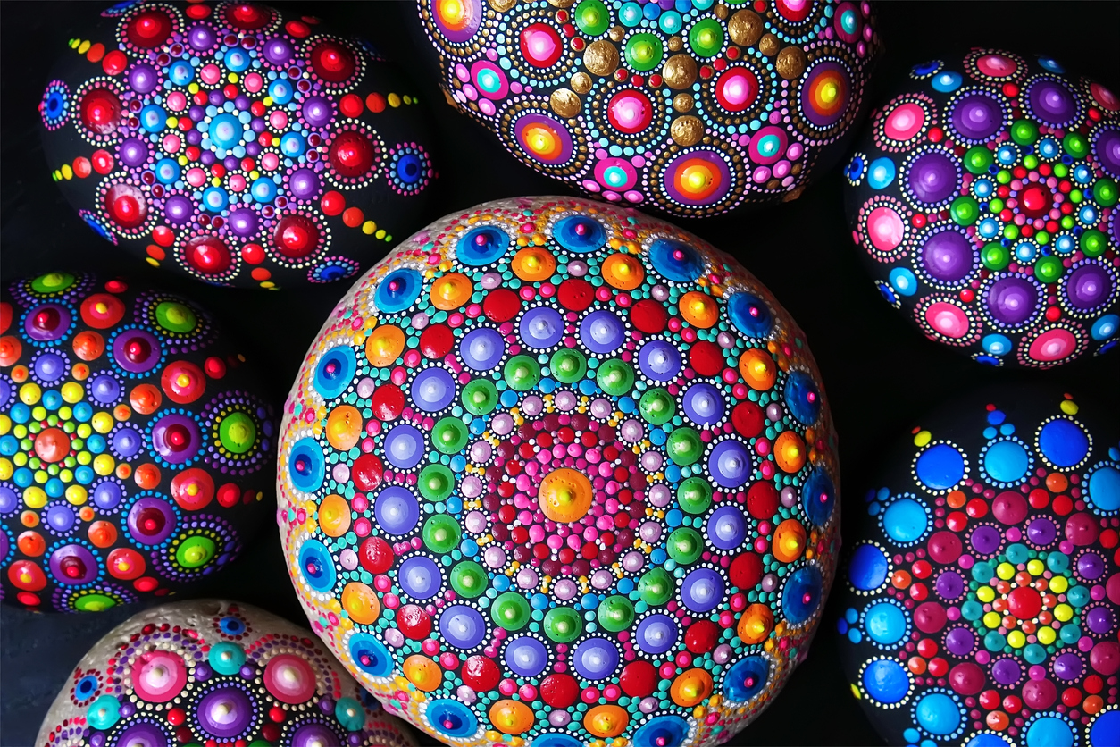 Hand painted mandala stones closeup