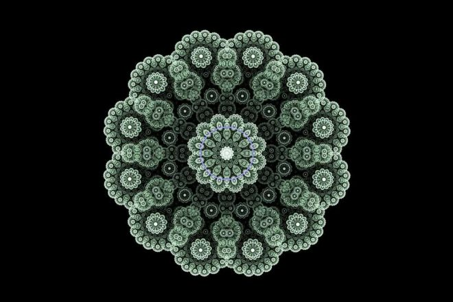 an image of a mandala in green