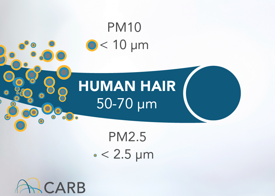 Illustration shows the size of PM2.5 relative to a human hair. Image courtesy: CARB