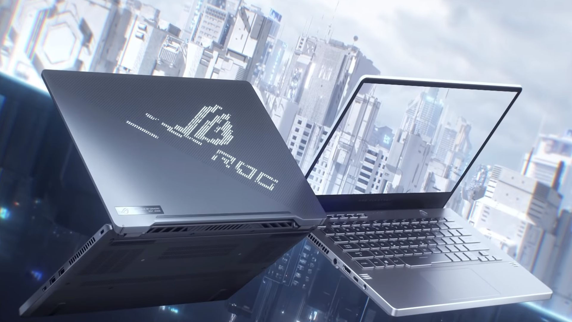 View of Asus' new ROG Zephyrus G14 14 inch gaming laptops