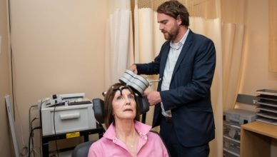 Deirdre Lehman undergoing TMS treatment as part of Stanford's study on depression.