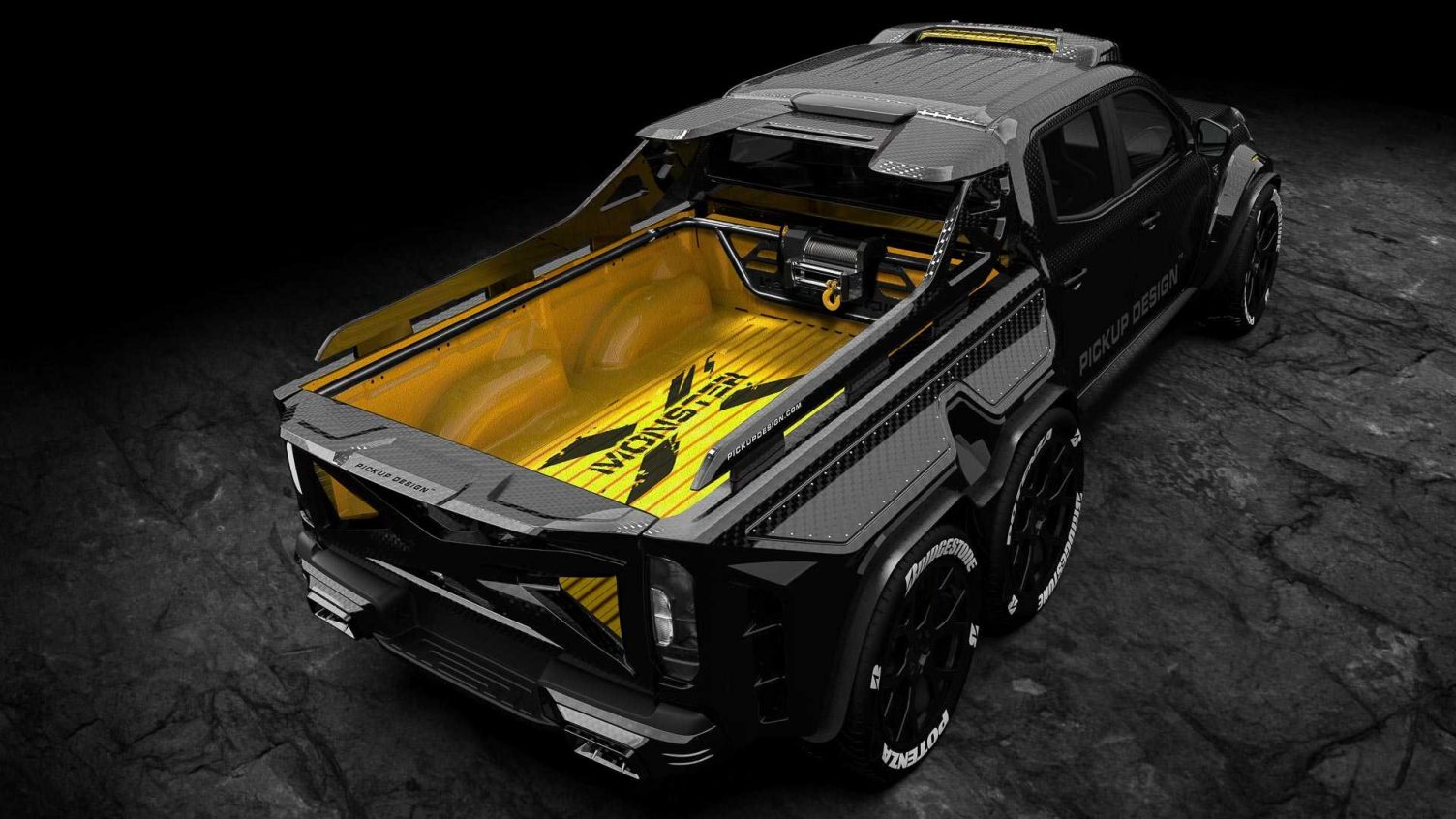 Rear view of the Monster X pickup truck. Image courtesy: Carlex Design