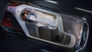 Woman sleeping during her ride in the Volvo autonomous car
